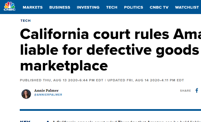 California court rules Amazon can be liable for defective goods sold on its marketplace