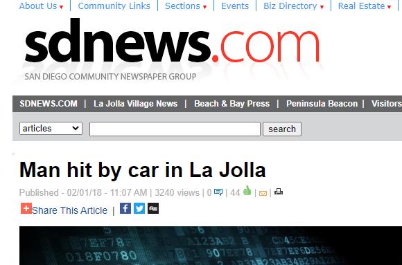 Man hit by car in La Jolla