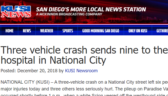 Three vehicle crash sends nine to the hospital in National City